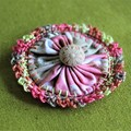 Coral tan citrus lime vintage Suffolk Puff brooch