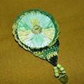 Fresh mint green vintage Suffolk Puff brooch