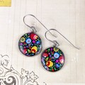 Women's large round resin drop stainless steel earrings bright floral black art