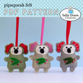 DIGITAL SEWING PATTERN Felt Christmas Koala Ornament, Australian animal