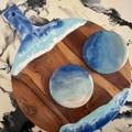 Hand painted ocean waves serving set