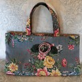 Grey blue vintage pink and yellow floral Project tote