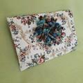 Ivory blue pink blue repurposed vintage linen clutch