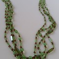 Pretty lime green and tan Czech glass and seed bead multi-strand necklace