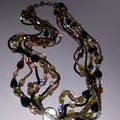 Six stranded vintage and Swarovski crystal necklace