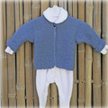 Bub Warmer with long sleeves:  Size 000 - 00  dusty blue Bluebell wool