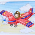 """Giclee art print """"Flying High"""" red plane and boy watercolour print"""