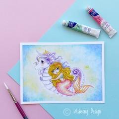 "Giclee fine art print ""Seahorse Unicorn"" mermaid watercolour painting print"