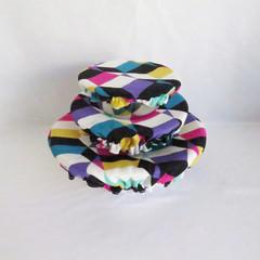 Eco-Friendly Multi-coloured geometric Bowl Covers Set of 3