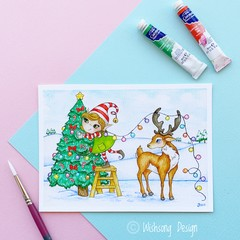 "Medium art print ""O' Christmas Tree"" reindeer and elf christmas print"