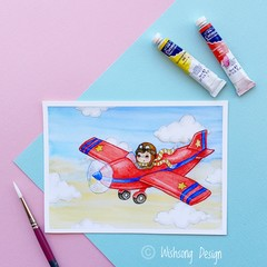 "Giclee art print ""Flying High"" red plane and boy watercolour print"