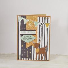 Happy Birthday Little Explorer, Woodland Birthday Card, Boys Birthday Card
