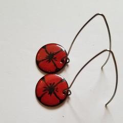 Red Poppy Enamel Earrings