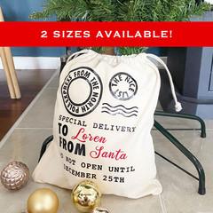 Santa sack personalised, personalised santa sack, santa sack Australia