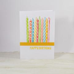 Birthday Candles Card,  Rainbow Birthday Card. Happy Birthday