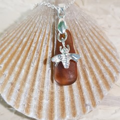 ***SOLD ELSEWHERE*** Seaglass - Honey Bee Necklace