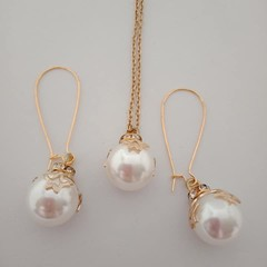 Gold and silver Christmas bauble necklace and earring set