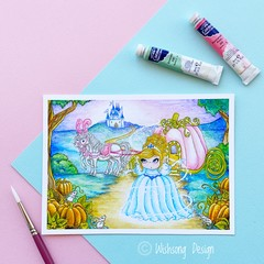 "Giclee art print ""Cinderella"" fairytale fine art watercolour print"