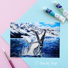 "Medium art print "" Whale Dance"" humpback whale acrylic painting print"