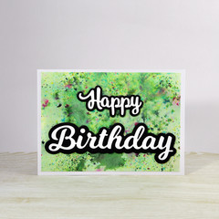 Unisex Birthday Card, Green Shimmer, Large Text