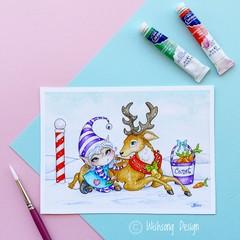 "Medium art print "" Carrots for Comet"" reindeer and elf christmas print"