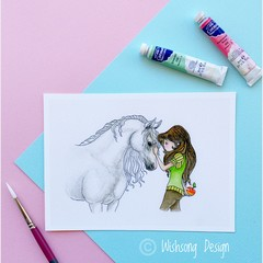 "Giclee fine art print ""Best Friends"" horse and girl watercolour painting print"