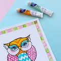 Medium art print Whimsical owl square art print