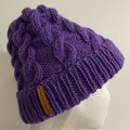 Handmade knitted purple cable beanie men's or ladies wool