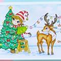 "Medium art print ""O' Christmas Tree"" reindeer and elf christmas print"