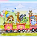 "Giclee art print ""All Aboard"" animal train watercolour fine art print"