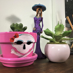 Plant Pots - Girlie Skull - 2 sizes available - Choice of 2 colours