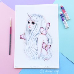 "Limited Edition Print ""La Bella Luna"" fantasy watercolour giclee art print"