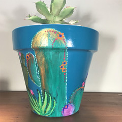 Plant Pots - Colorful Cactus - - 2 sizes available - choice of color