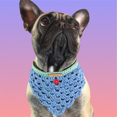 Blue hand crocheted bandana with green trim with either a small ❤️ or 🌼 button.