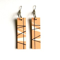 Hand Painted Wooden Peach Black White Geometric Drop Earrings.