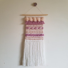 Hand woven wall hanging/weave - crepe latte