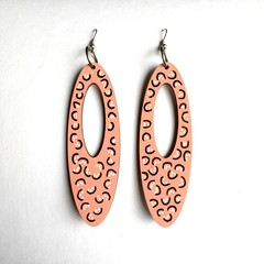 Hand Painted Wooden Pink Black White Geometric Drop Earrings.