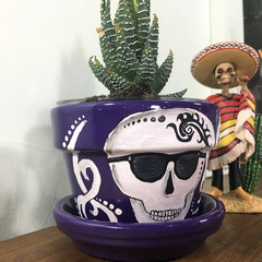 Plant Pots - Tattooed Skull - 2 sizes available - choice of colour