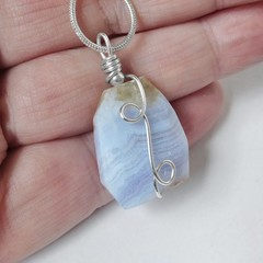Blue Lace Agate Sterling wrapped pendant