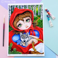 "Limited Edition Print ""Little Red"" fairytale acrylic painting, fine art print"