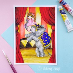 "Giclee art print ""The Elephant Trainer"" circus fine art print"
