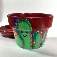 Plant Pots - Cute Cactus Indoor -Design #1 - 2 Sizes Available- Choice of Color