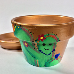 Plant Pots - Cute Cactus Indoor - Design #2 - 2 sizes available - choice of colo