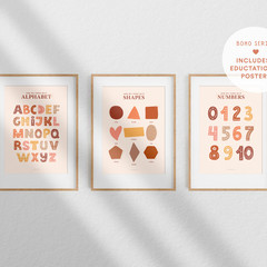 Alphabet Print, Numbers Print, Shapes Print - Digital Download