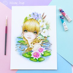 "Large art print ""The Water Nymph"" fantasy watercolour art print"