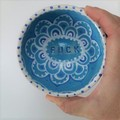 F*ck bowl gift, unique handmade white turquoise & blue pattern gift