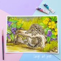 "Giclee art print ""Echidna Antics"" watercolour fine art print"