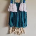 Hand woven wall hanging - blue rainbow