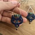 Turquoise earrings with silver, macrame boho earrings