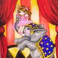 "Giclee art print ""The Elephant Trainer"" circus fine art print"
